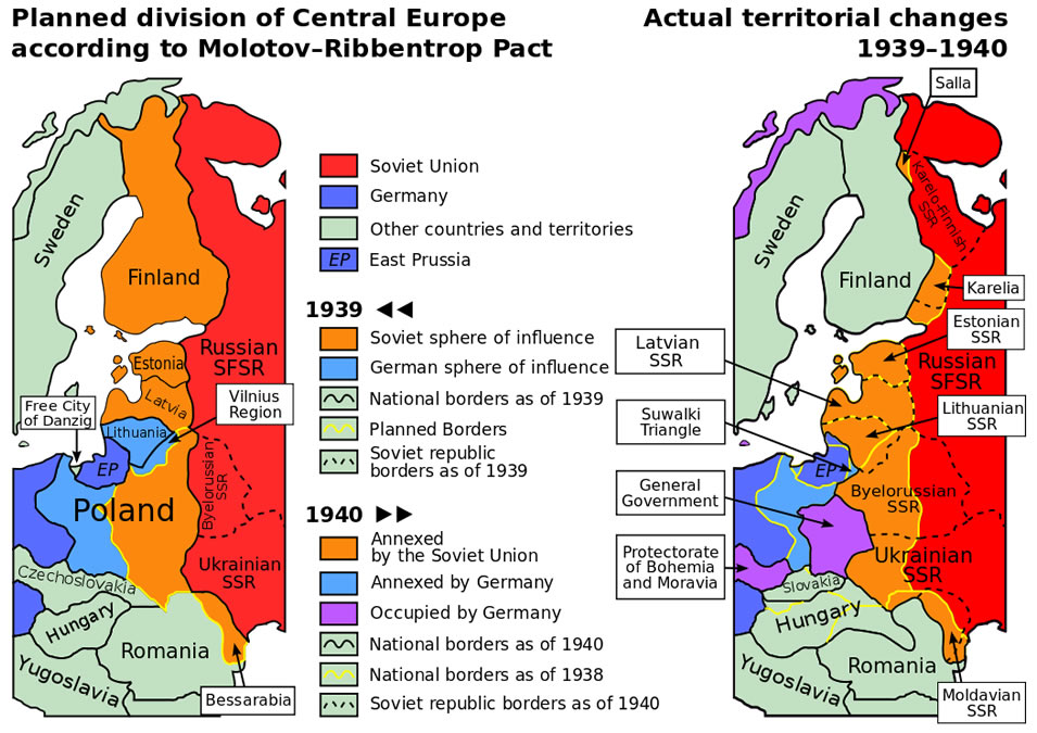 Molotov-Ribbentrop Pact map showing the planned division of Central Europe.